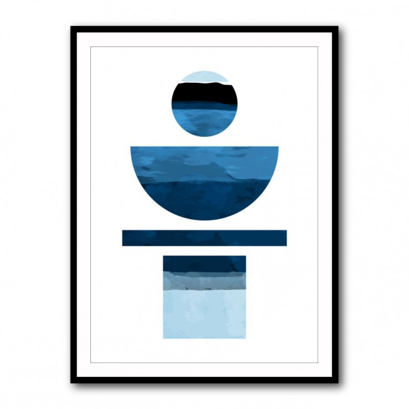 Abstract Shapes in Blue Framed Print