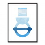 Abstract Shapes in Blue 3 Framed Print