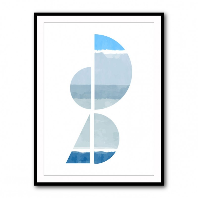 Abstract Shapes in Blue 1 Framed Print