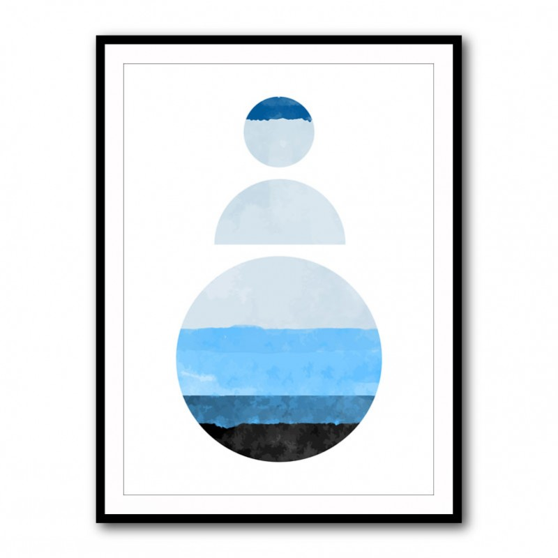 Abstract Shapes in Blue 2 Framed Print
