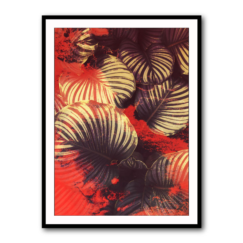 Red Leaves Abstract Framed Art Print