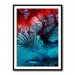 Blue and Red Leaves Abstract Framed Art Print