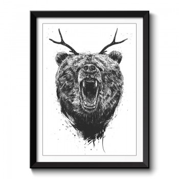 Angry Bear with Antlers Framed Print