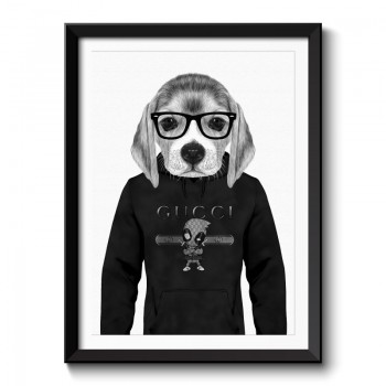 Beagle Hoodie Black & White Framed Wall Art Print