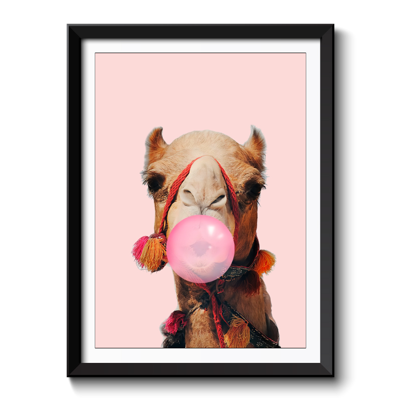 Camel Bubble Gum Pink Framed Print