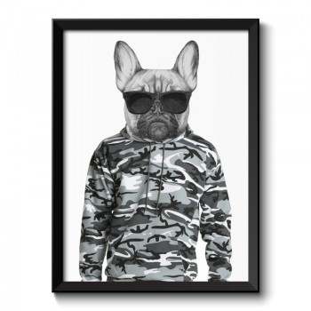 French Bulldog Wearing Cammo Hoodie and Sunglasses Framed Print