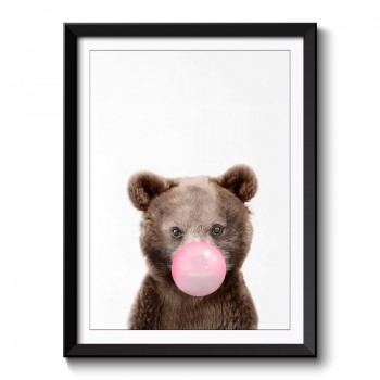 Bear Bubble Gum Framed Print