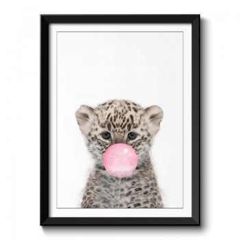 Leopard Bubble Gum Framed Print