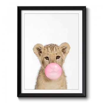 Lion Bubble Gum Framed Print