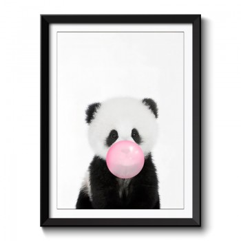 Panda Bubble Gum Framed Print