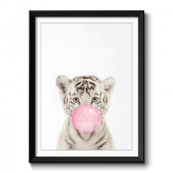 Tiger Bubble Gum Framed Print