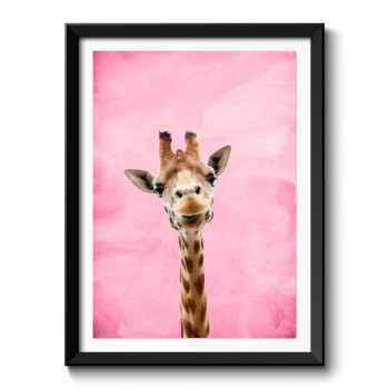 Giraffe Pink Pastel Background Framed Print