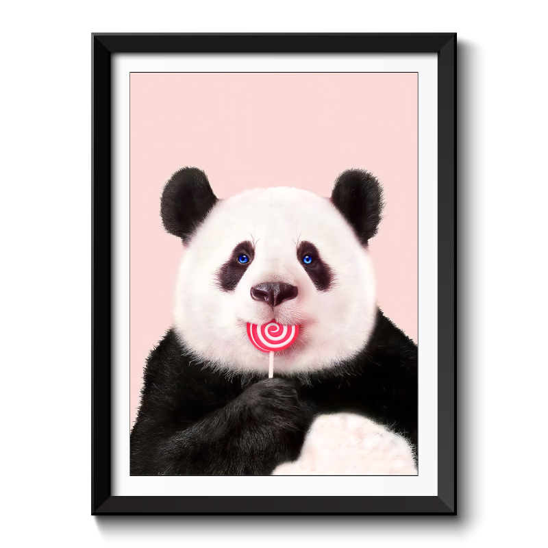 Panda Lollipop Framed Print