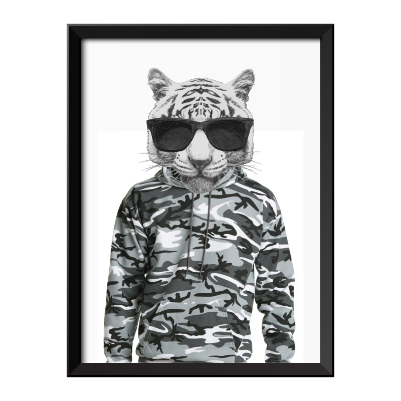 Tiger Wearing Cammo Hoodie and Glasses Framed Print
