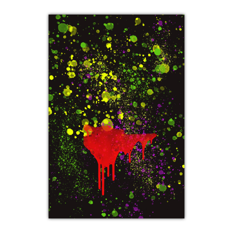 Abstract Blood & Splashes Canvas Wall Art Print