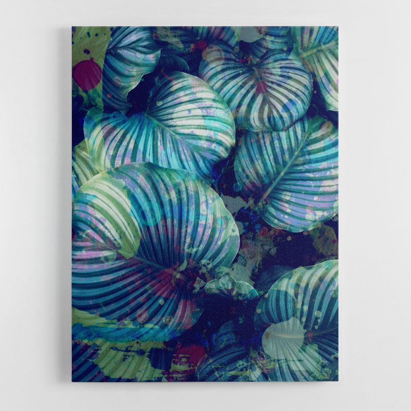 Blue Leaves Abstract Wall Art Canvas Print