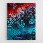 Blue and Red Leaves Abstract Wall Art Canvas Print