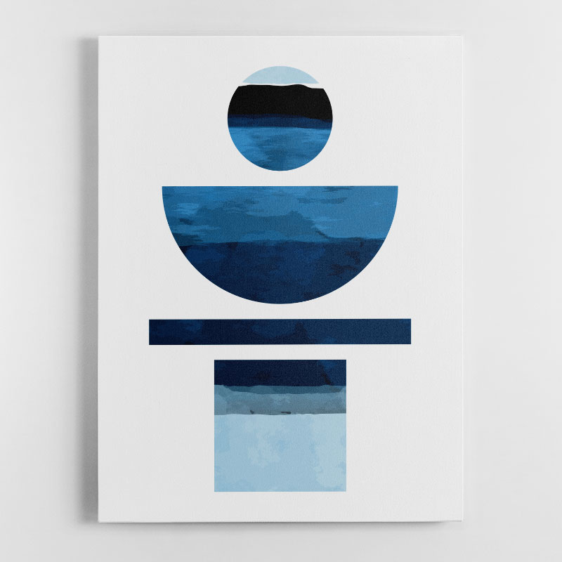 Abstract Shapes in Blue Canvas Wall Art Print