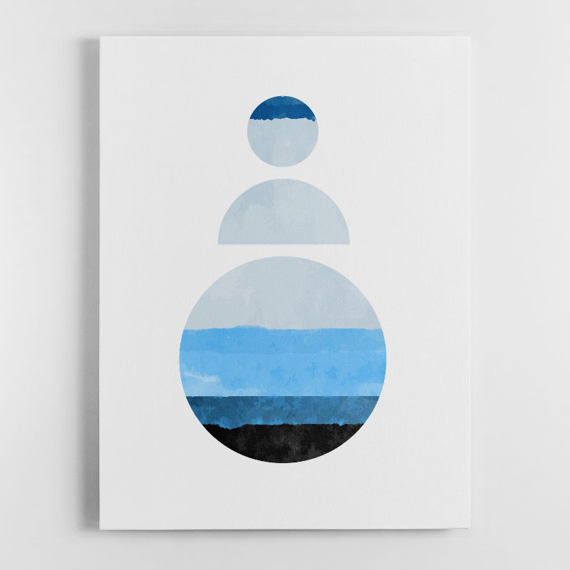 Abstract Shapes in Blue 2 Canvas Wall Art Print