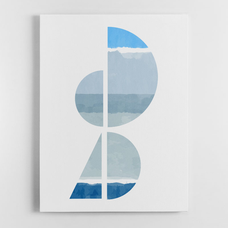 Abstract Shapes in Blue 1 Canvas Wall Art Print