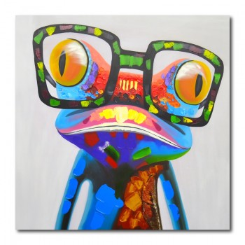 Abstract Big Eyed Frog Canvas Wall Art Print