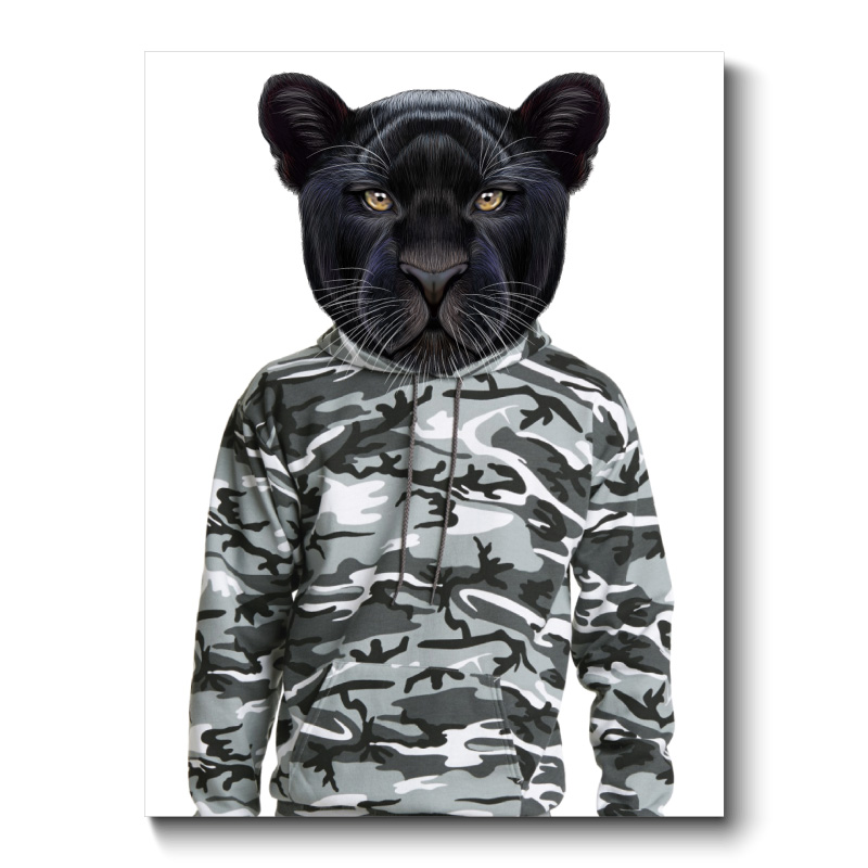 Black Panther Wearing Cammo Hoodie Canvas Print