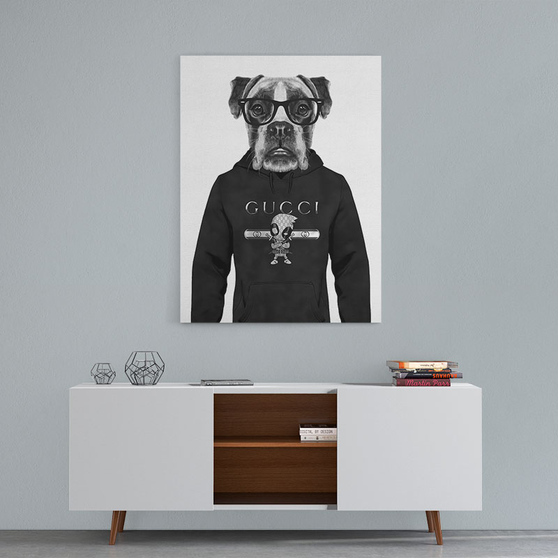 Boxer Dog In A Hoodie Black Amp White Canvas Wall Art Print