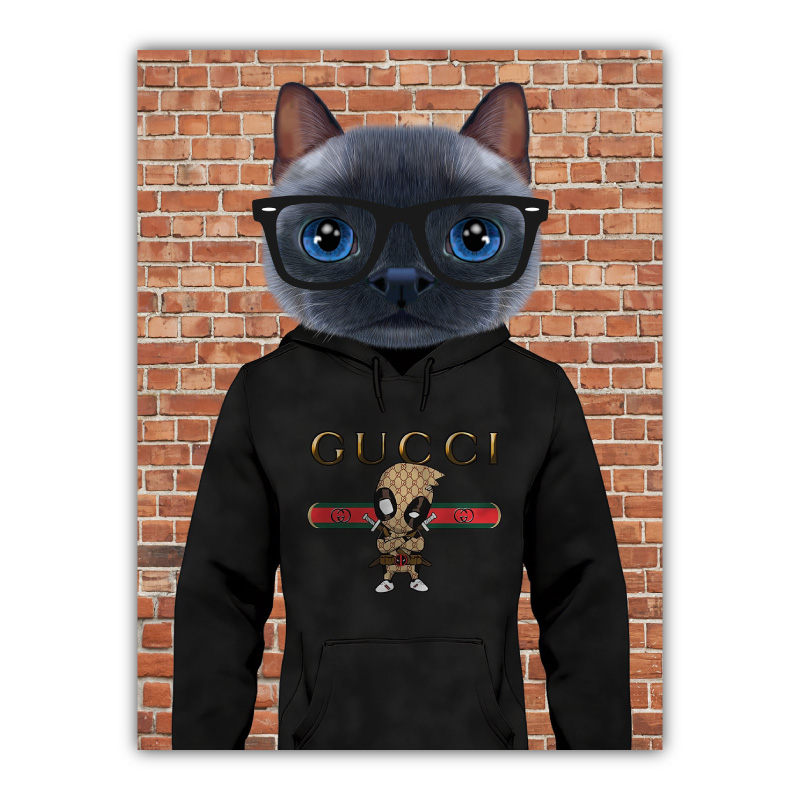 Cat in a Hoodie Canvas Wall Art Print