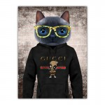 Cat in a Hoodie with Gold Glasses Canvas Wall Print