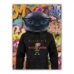 Cat in a Hoodie with Glasses Canvas Wall Print