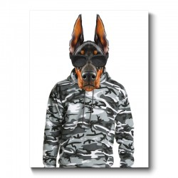 Doberman Wearing Cammo Hoodie and Sunglasses Canvas Print