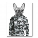 French Bulldog Wearing a Cammo Hoodie Canvas Print