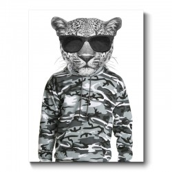 Leopard In Sunglasses and Cammo Hoodie Canvas Print