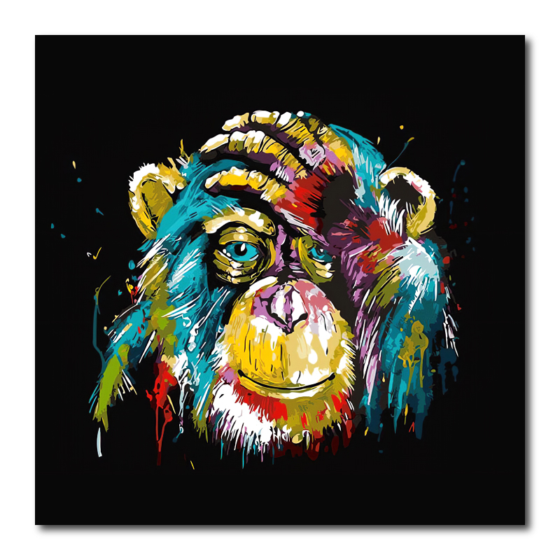 Abstract Monkey Canvas Wall Art Print