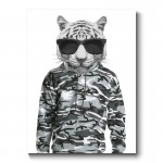 Tiger Wearing Cammo Hoodie and Sunglasses Canvas Print