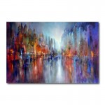 City on the River Abstract Canvas Wall Art Print