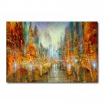 City of Lights Abstract Canvas Wall Art Print
