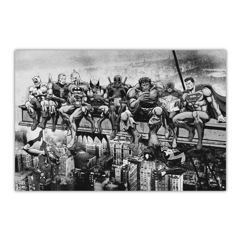 Marvel and DC Superheroes Lunch Atop A Skyscraper Black & White Canvas Wall Art Print