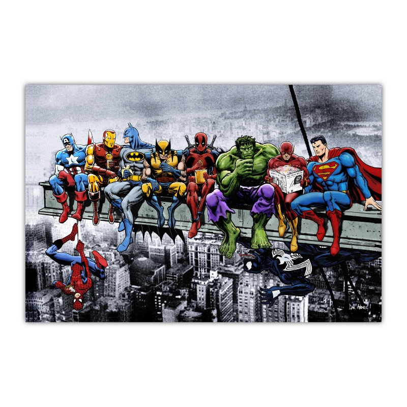 Marvel and DC Superheroes Lunch Atop A Skyscraper by Dan Avenell Canvas Wall Art Print
