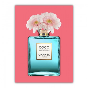 Blue Coco Chanel With Flowers Canvas Wall Art Print