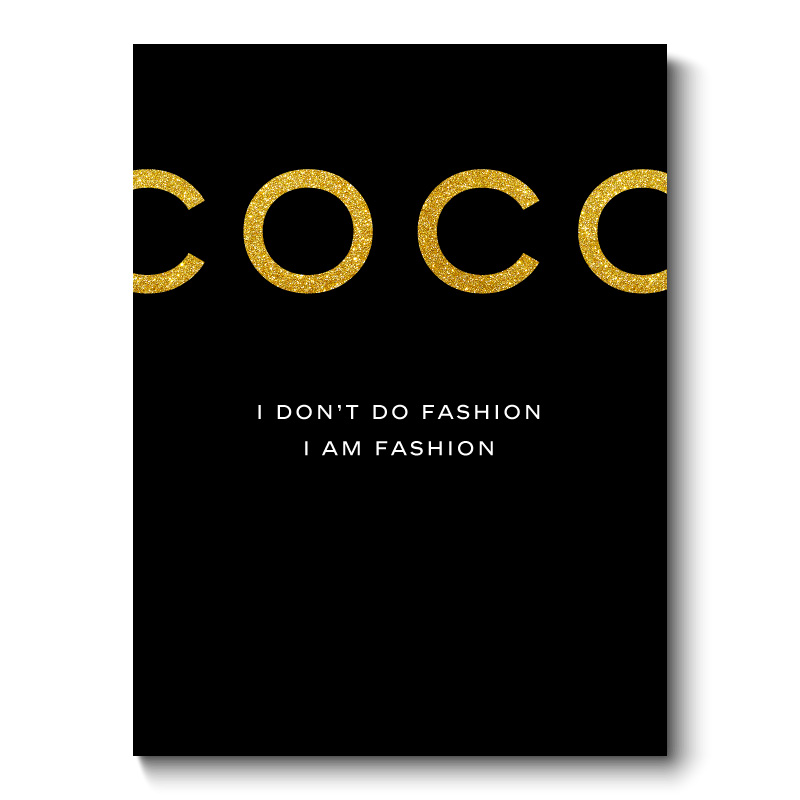 Coco Chanel Gold Glitter Black Canvas Art Wall Print