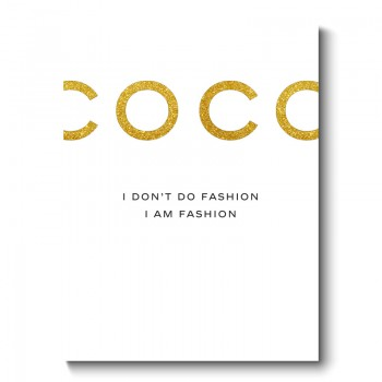 COCO Chanel Gold Glitter Canvas Print