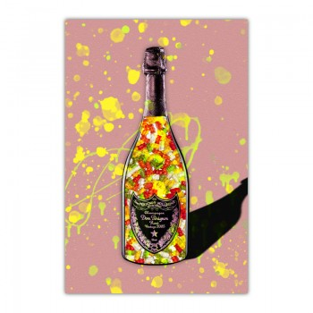 Gummy Bears on Pink Champagne Wall Art Canvas Print