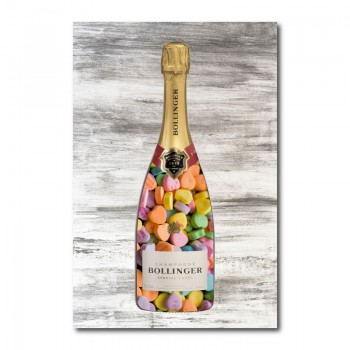 Love Hearts Champagne Wall Art Canvas Print