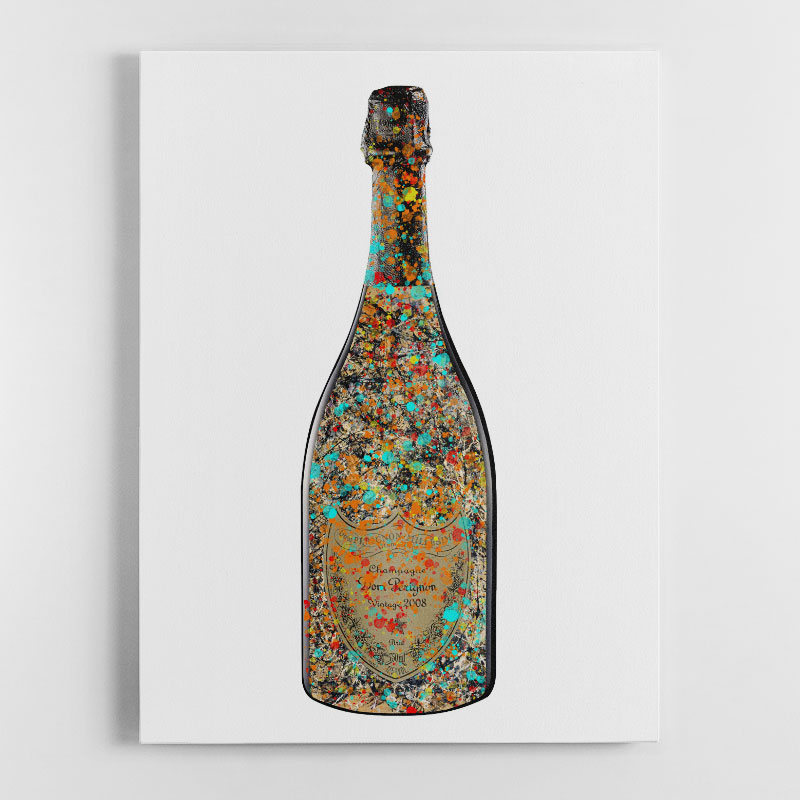 DP Pollock Champagne Splash Canvas Wall Art Print