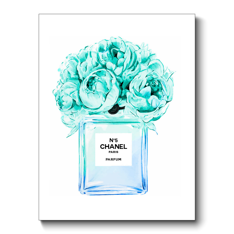 Chanel Blue Flower Perfume Bottle Canvas Print