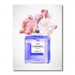 Chanel Blue Perfume Flowers Canvas Wall Art Print