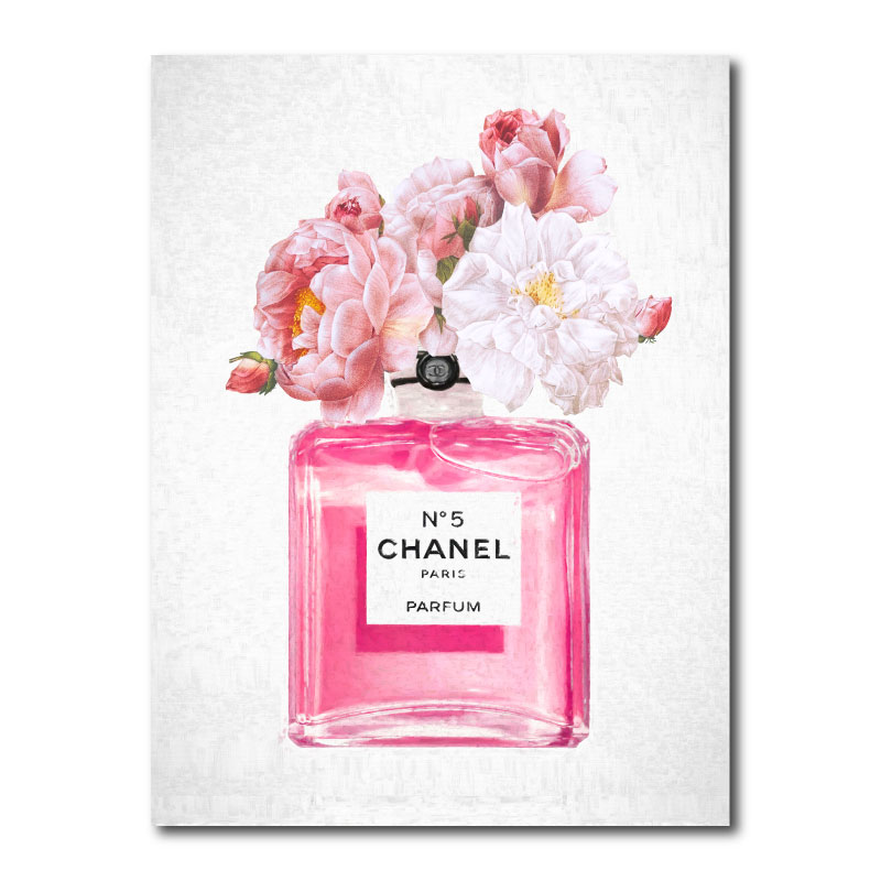 Chanel Pink Perfume Flowers Canvas Wall Art Print