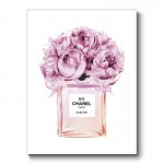 Chanel Pink Flower Perfume Bottle Canvas Print