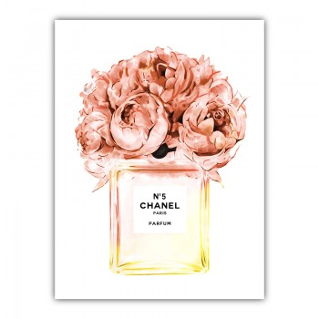 Chanel Orange Flower Perfume Bottle Canvas Print